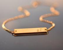 Big little sorority, Greek letters, Sister Necklace, Little Sister Necklaces, Big Little Jewelry, Gold bar neklace, Alpha beta kappa omega