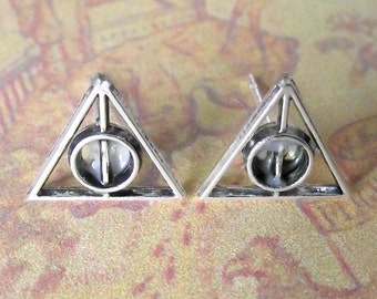 Harry Potter Mini Deathly Hallows Symbol Logo Wizard Stud Earrings Hogwarts Book Tibetan Silver Witches Snape Slytherin Philosphers Stone