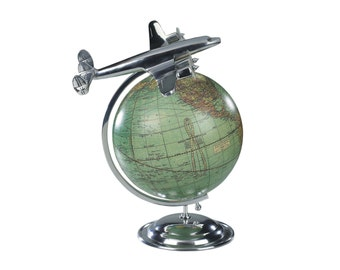 On Top Of The World - Desktop Airplane Model Globe 1930s Collectable