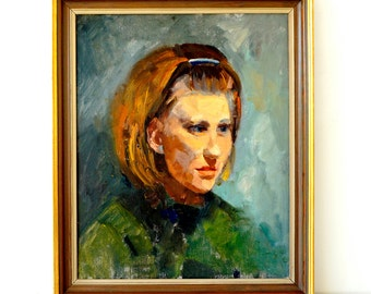 Vintage Portrait Painting - 1960's Mid Century Art - Girl in Green  Portrait Art - Oil Painting - Original Framed Artwork