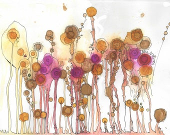 Field flowers forest abstract Original_peinture pink and jaune_a ink alcohol 11' X 15 ' on Watercolour paper
