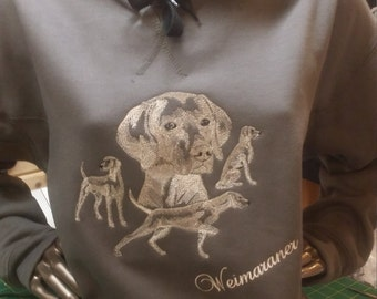 Embroidered Weimaraner lovers Hoodie