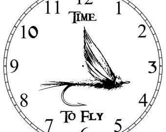 Carved fly fishing Clock