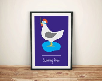 Funny Minimalist Poster Wordplay Swimming Poule - Swimming Pool - Phonetical Illustration - Funny - Wall Decor - Home Decor