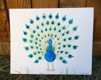 """Original Watercolor and Ink, """"Peacock"""" 10 by 8 inches"""
