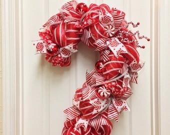 Candy Cane Christmas Wreath. Whimsical Christmas Wreath. Christmas Swag. Red and White Christmas Wreath. Holiday Wreath.