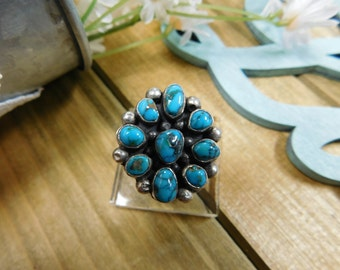 Vintage Silver Turquoise Cluster Ring