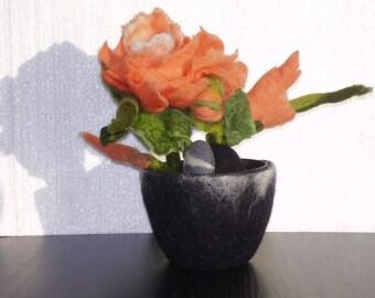 Fiber art, Felted flower, Textile art, Unique home decor, Unusual gift,  OOAK