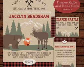 Camper, Lumberjack Baby Shower Invite with Book Card and Diaper Raffle Combo