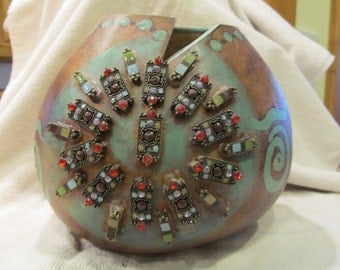 Painted bejeweled gourd