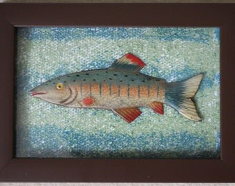 Beaded picture of salmon, framed
