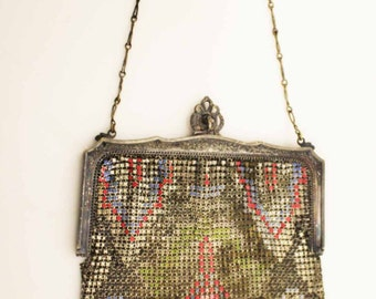 Steel mesh purse by Whiting and Davis, art deco, geometric design