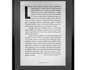 Lorem Ipsum Dolor Letterpress Typography Print