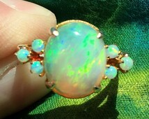 Gorgeous Vintage Fire Opal and 10k Yellow Gold Ring - Size 7.5 -Appraised