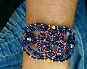 Bracelet woven micro macrame in tones of blue and coral and brass and Crystal beads