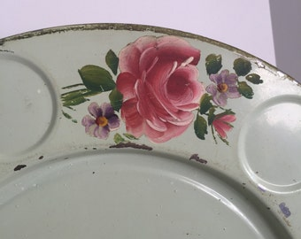 Vintage tole drink tray for pitcher and glasses, free shipping!
