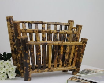 Bamboo Letter Rack/Vintage Stationary Holder/Wooden Desk Tidy/1950's/Gift for Men/Office