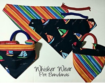 nautical wear, reversible dog scarf, dog bandana, pet scarf, pet bandana, pet attire, pet clothing,summer, reversible, anchor, sailboats