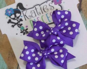 Purple Pig tail hair bow set