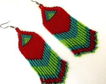 Red, Turquoise, Lime Green Earrings - Tassel Dangle Drop Earrings