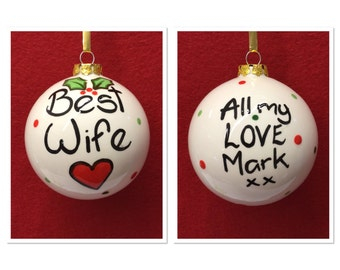 Personalised Best Wife Christmas Bauble