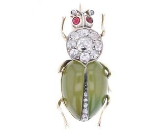 Antique Jade Ruby and Diamond Beetle Brooch