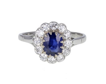 Oustanding Quality Unheated Sapphire and Diamond Cluster Ring
