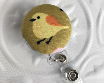 Item #170, Retractable ID Badge Holder, badge holder, id dabge, bird, tweet, summer, nurse gift, teacher gift, fabric covered button