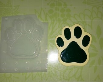 Dog Pawprint Plastic Mold, Resin Mold, Soap Mold, polymer clay mold, candle mold, dog paw mold, footprint mold, puppy paw mold, waxmelt mold