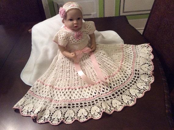 Crochet Yoked Interchangeable Flower Christening Gown Pattern