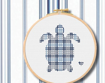 Completed Cross Stitch Plaid Baby Sea Turtle