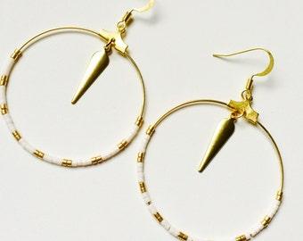 Earrings hoops miyuki white and Golden