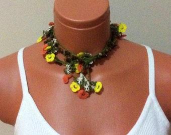 Crochet long necklace, flower necklace, crochet lariat, flower wrap scarf, colorful flower, tiger's eye gemstone, unique, gift for women