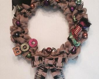 Burlap Halloween wreath. Boo wreath. Halloween decoration.