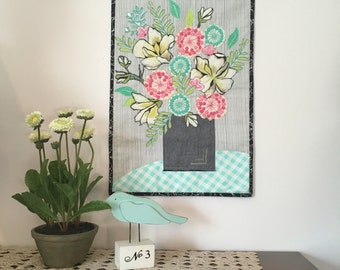 Fabric College Bouquet/Art Quilt/Wall Hanging