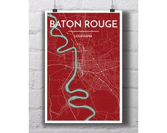 Baton Rouge, Louisiana - City Map Print