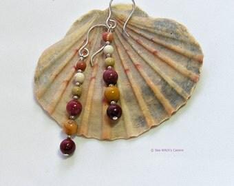 Mookaite Earrings, Jasper Earrings, Autumn Jewellery, UK Seller, A0484