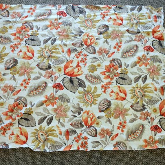 Linen Floral Fabric Designer Fabric Decorator Fabric Home