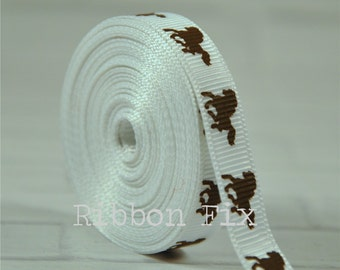 "2 yards 3/8"" White Horse Grosgrain Ribbon - US Designer Print - Rodeo - Farm - Barn - Wedding - Boots - Home Decor - Dog Collar Leash"