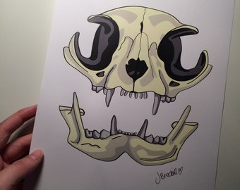 A4 cat skull print