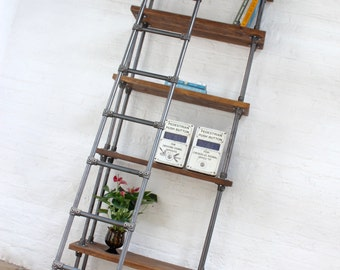 Brooklyn Handmade Reclaimed Scaffolding Boards and Dark Steel Pipe Bookcase with Fully Adjustable Shelves and Ladder - www.urbangrain.co.uk