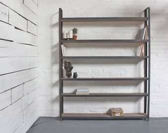Tom Bespoke Reclaimed Scaffolding Boards and Dark Steel Framed Free Standing Shelves/Bookcase/Shelving - made to order industrial furniture