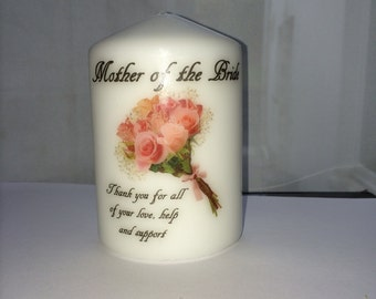 Mother of the Bride Thank You Gift Wedding Favour Candle Personalised