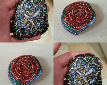 Rose and Iris Pair of Floral Hand painted Pebbles