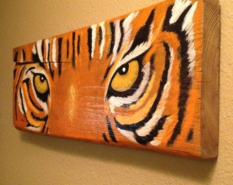 Rustic Tiger Eyes Painting