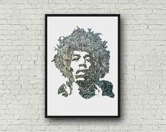 Jimi Hendrix Zentangle A4 Art Print