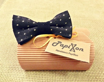 Black silk bow tie with White Rectangles-single pieces
