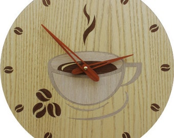 """Wooden wall clock handmade technique of marquetry """"Cofee cup"""" Lifetime guarantee. Eco friendly"""