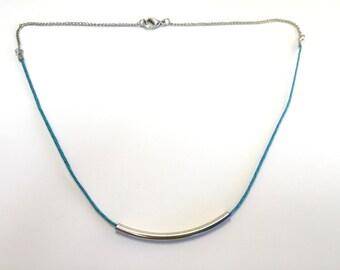Necklace ras-du-cou tube - blue
