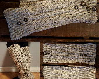 Leg warmers for figure skaters, buttons and flared bottom leg warmers; cable knit crocheted legwarmers ;; Kenow Leg Warmers
